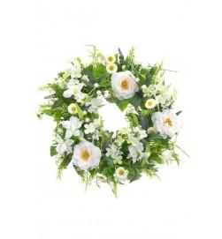 Krans, vita rosor, konstgjord