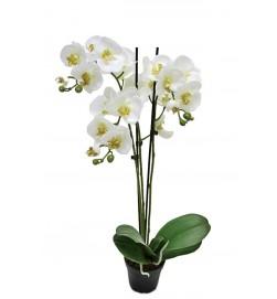 Orkidé i kruka, 3-stängel, vit, konstgjord