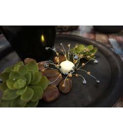 Pärldekoration, ljusmanchett med pärlor i svart, aprikos och grått