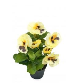 Pensé i kruka, ljusgul, konstgjord blomma