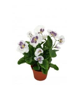 Pensé i kruka, vit, konstgjord blomma