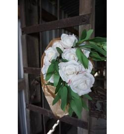 Ros, vit, konstgjorda blomma