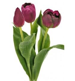Tulpan 3-pack, mörklila-konstgjord blomma